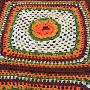 Nice hand crocheted Afghan with crocheted flowers